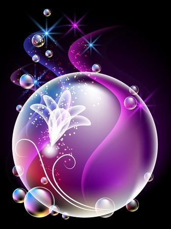 Glowing background with sphere, flowers, smoke, stars and bubbles Stock Vector - 10194569