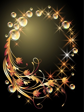 Glowing background with sphere, golden ornament, stars and bubbles Stock Vector - 10194565