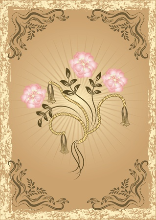 drawings image: Card in retro style with flowers
