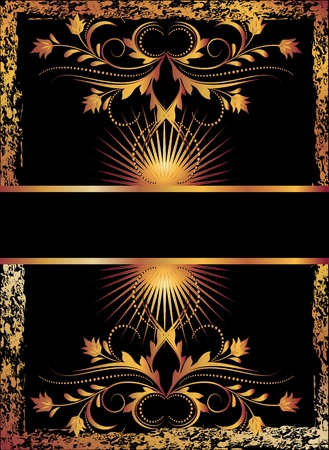 Black background with  luxurious copper ornament Illustration