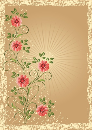 edges: Card in retro style with meadow flower