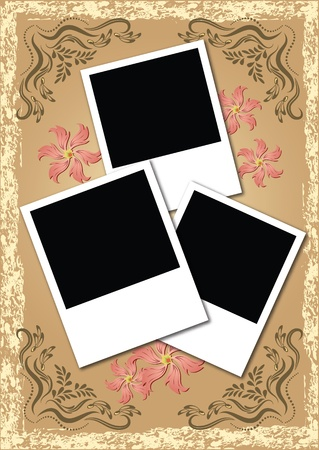 photo album page: Page layout photo album with flowers Illustration