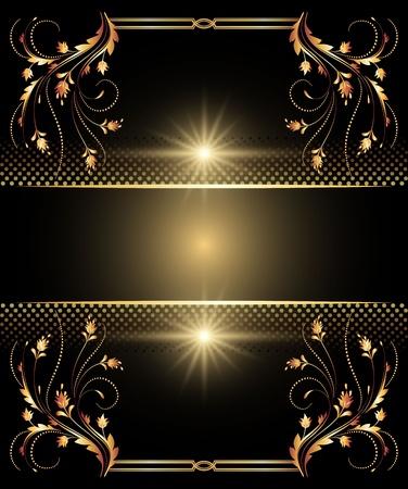 elegante: Sfondo con ornamento d'oro per arte e di design vari
