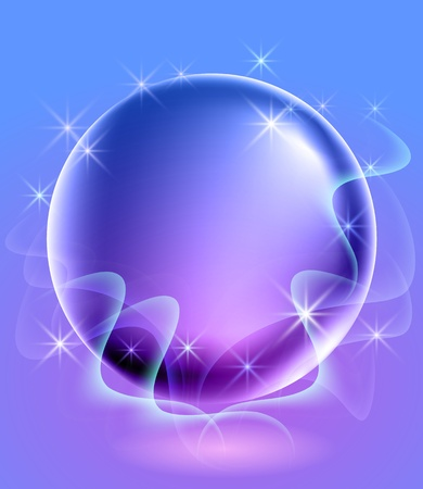 Glowing background with sphere and stars