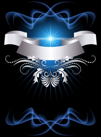 Background with glowing star and silver ornament Vector