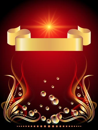 Background with glowing star, golden ornament and bubbles Vector
