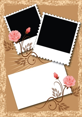 heading: Page layout photo album with flowers Illustration