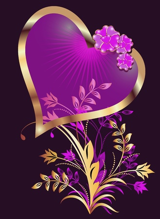 Card with decorative hearts