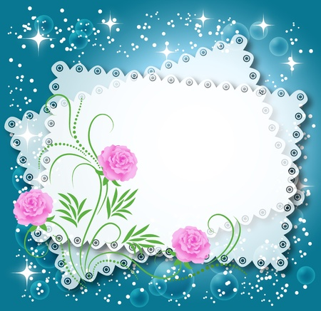 napkins: Magic floral background with stars and a place for text or photo.