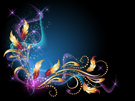 Glowing background with smoke, stars and golden ornament.