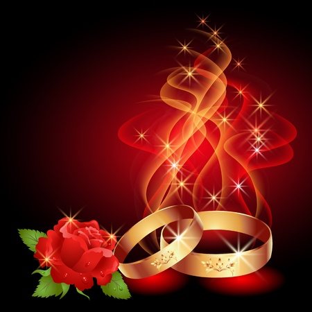 Wedding rings in abstract flames and smoke Vector