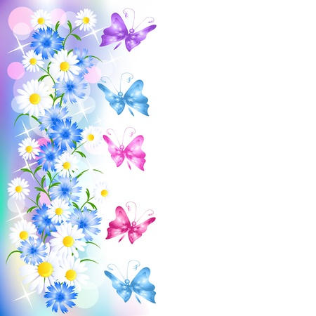 butterfly border: Flowers background with butterfly