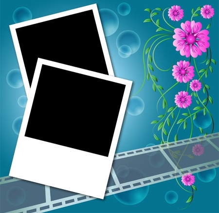 develop: Page layout photo album with flowers and filmstrip