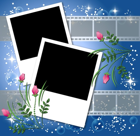 Page layout photo album with flowers and filmstrip Stock Vector - 10290830