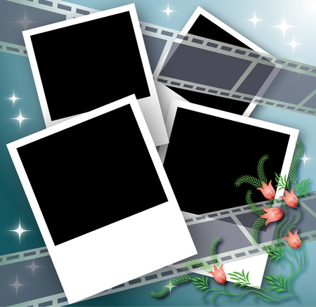 photo strip: Page layout photo album with flowers and filmstrip