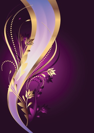 Background with ornament and elegant ribbon