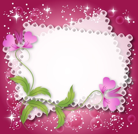 at the edge of: Magic floral background with stars and a place for text or photo.