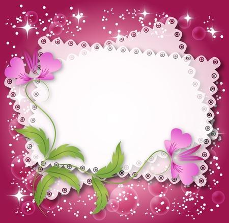 photo album page: Magic fondo floral con estrellas y un lugar para texto o foto. Vectores