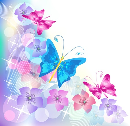 transparent brush: Floral background with butterfly for an insert of the text or a photo.
