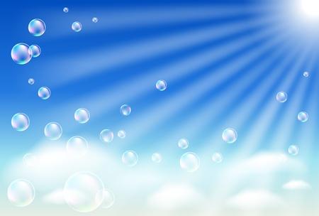 point chaud: Ciel, nuages, bulles et soleil