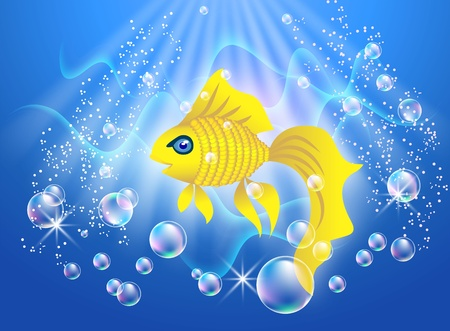 Beautiful Goldfish swim in the water with air bubbles Vector
