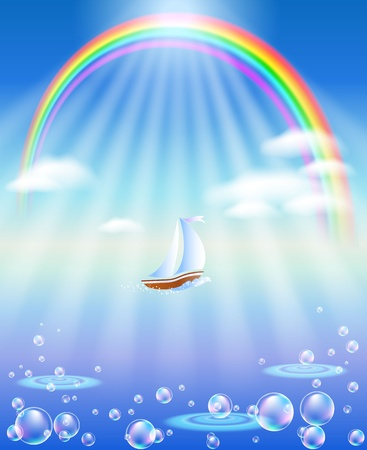 high sea: Sea, rainbow and boat in the sun beams Illustration