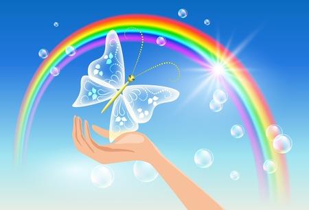 saubere luft: Die Hand h�lt eine transparente Schmetterling gegen einen Regenbogen. Symbol des Umweltschutzes