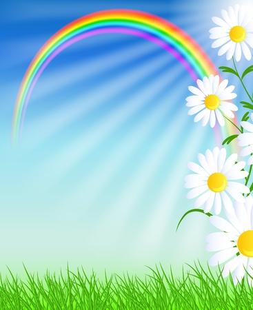 Camomiles, arco iris y un cielo azul Ilustración de vector