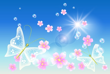 Flowers and  butterflies  in the sky Stock Vector - 10290844