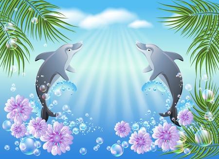 paesaggio mare: Delfini salta dall'acqua sullo sfondo di nuvole e palme