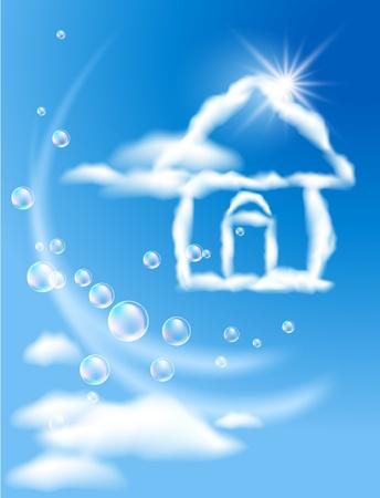 flecks: Cloud house in the sky and sun Illustration