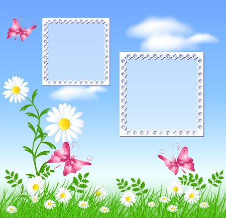 Camomiles on the green grass, butterflies and photo frame Vector