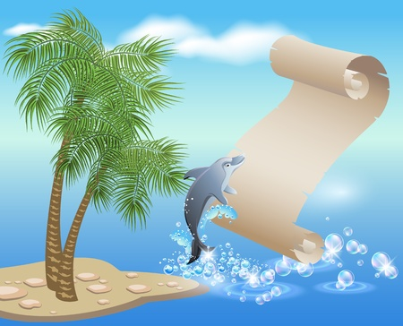 Palm, dolphin  and  parchment  against the backdrop of sea and sky Stock Vector - 10290826