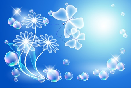 Glowing background with transparent flowers and bubbles Vector