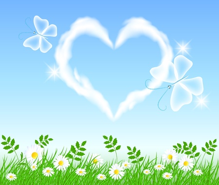 Butterflies and heart cloud in the sky Vector