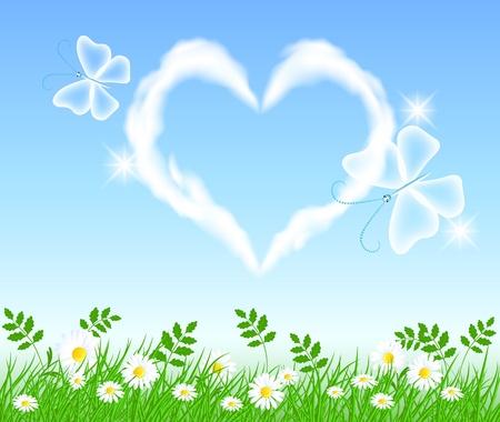 prato e cielo: Farfalle e cuore nuvola nel cielo