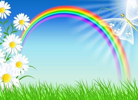 Camomiles, regenboog, vlinder en de blauwe hemel Stock Illustratie