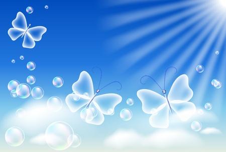 flecks: Sky, clouds, bubbles  and  sunshine