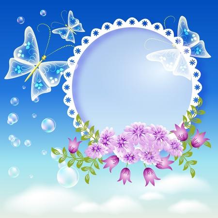 point chaud: Fleurs, papillons dans le ciel et foto frame