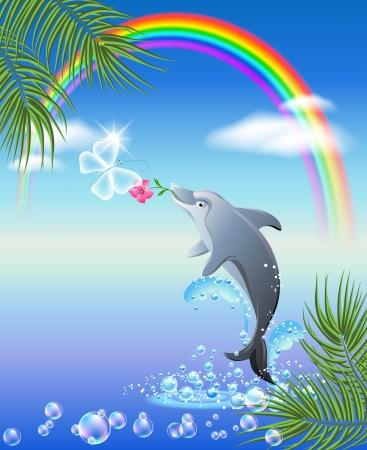 dolphin: Dolphin geeft vlinder bloem Stock Illustratie