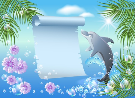 Palm, dolphin  and  parchment  against the backdrop of sea and sky Vector