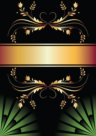 caption: Background with golden ornament for various design artwork