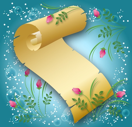Magic background with scroll and a place for text Stock Vector - 10300007