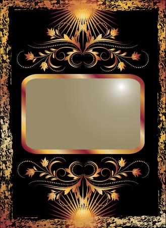 baroque picture frame: Black background with luxurious copper ornament.