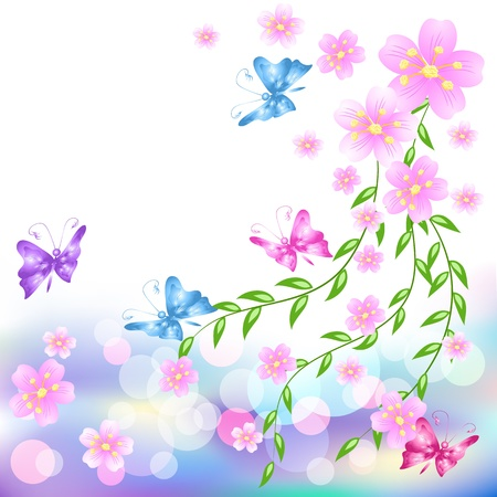 transparent brush: Flowers background with butterfly