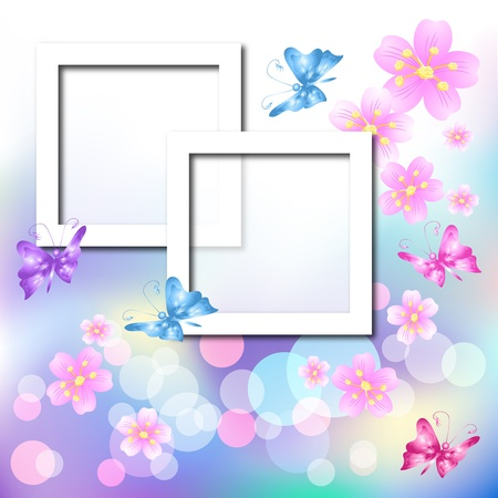 Page layout postcard with flowers, butterfly for inserting text or photo  Vector