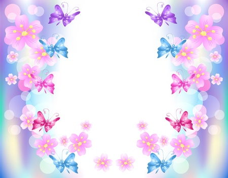 butterfly background: Flowers background with butterfly