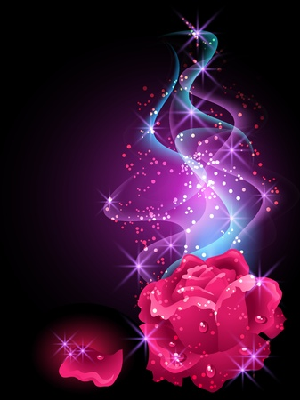 Glowing background with rose, smoke and stars Vector