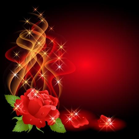 Gloeiende achtergrond met roos, rook en sterren
