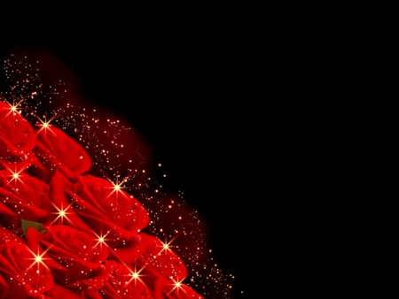 red rose bokeh: Abstract glowing background with roses and stars Stock Photo